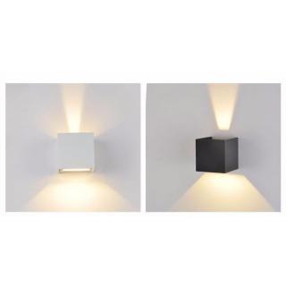 Seinävalaisin Led 2 x 3W lämminvalkoinen 2700K, IP65, Musta tai Valkoinen